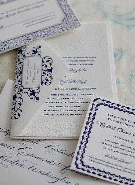 Sarah Drake Custom Letterpress Wedding Invitations