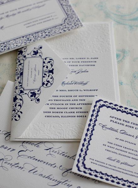 Sarah Drake Custom Letterpress Wedding Invitations