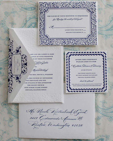 Navy and White Letterpress Invitations