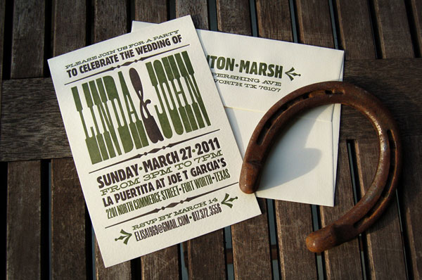 Western Style Letterpress Wedding Invitations
