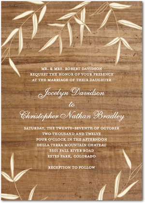 willowy wood wedding invitations - Wood Wedding Invitations