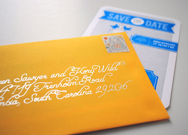 Yellow Envelopes Save the Date