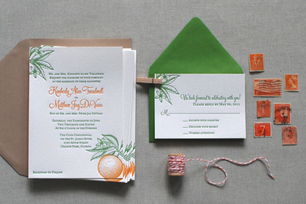 Florida Citrus Letterpress Wedding Invitations