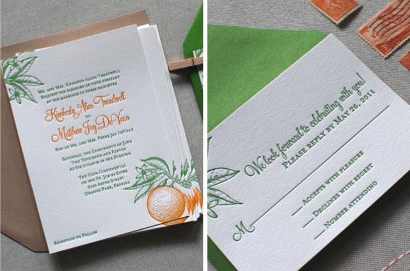 Letterpress Citrus Wedding Invitation Suite
