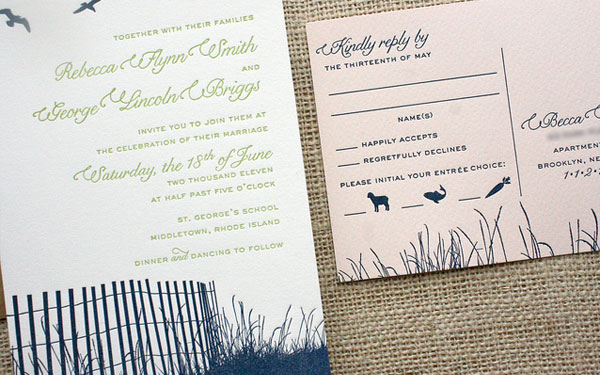 Pink Navy Blue Reply Cards