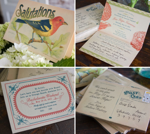 Vintage Bird Postcard Bridal Shower Invitations