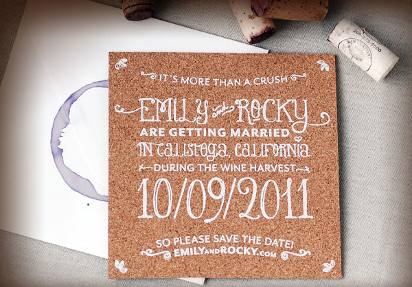 Unique Wine Stain + Cork Save the Dates