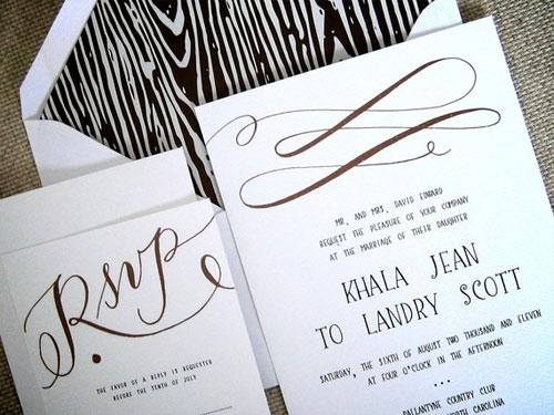 Faux Bois Wedding Invitations