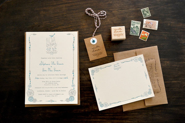 Stephanie + Ben's Bohemian Wedding Invitations ...