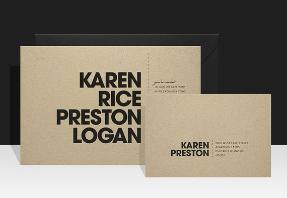 Modern Kraft Invitations