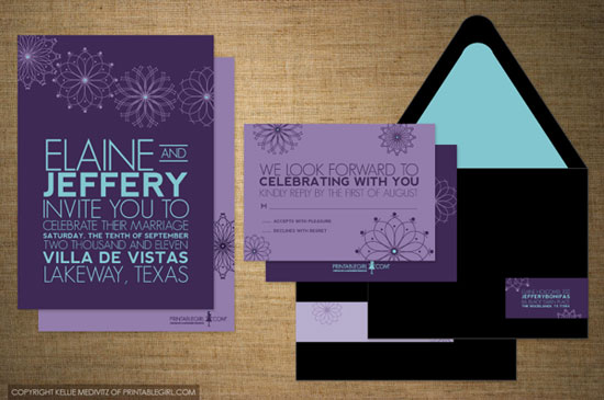Starlight Flower Invitations