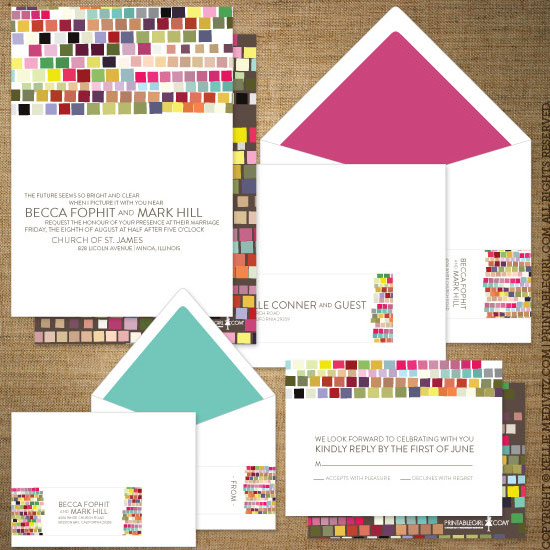 Colorful Printable Wedding Invitations