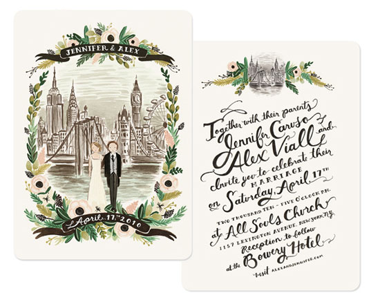 New York London Illustrated Wedding Suite Invitation Crush – Custom Wedding Invitations Nyc