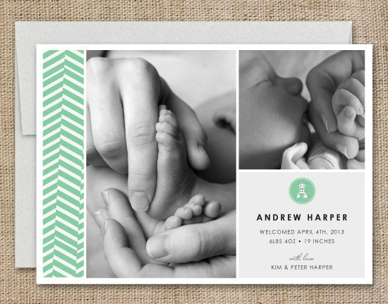 Herringbone Birth Announcements