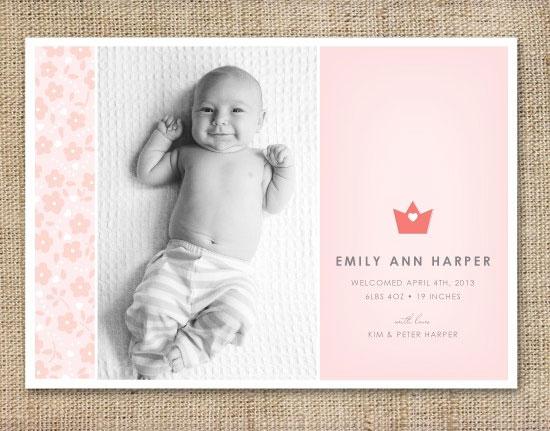 Modern Birth Announcements by Simple Te Design - Invitation Crush