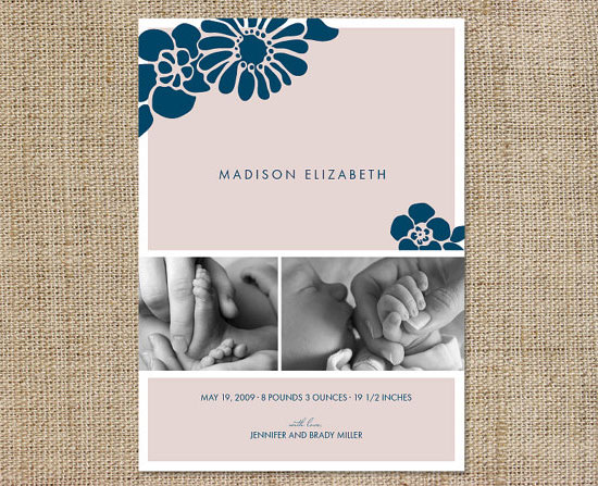 Navy Pink Floral Birth Announcements