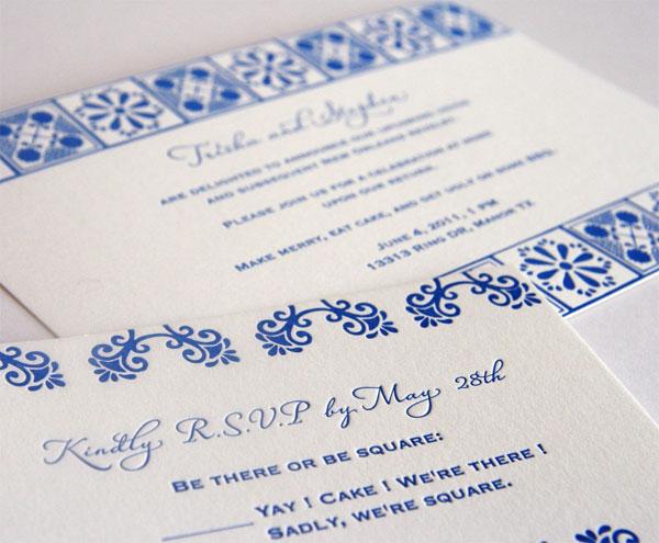 Mexican Talavera Inspired Wedding Invitations