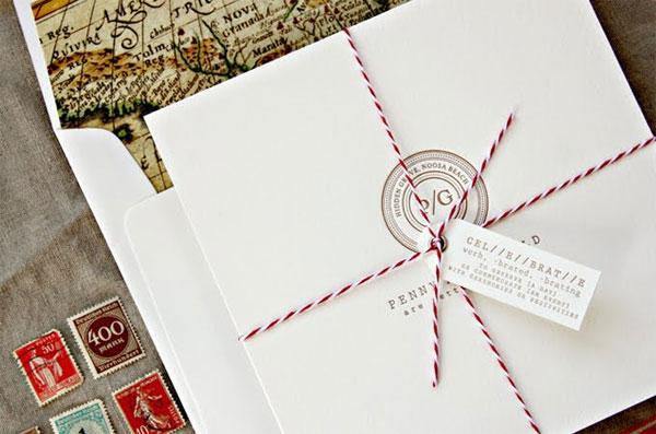 Postmark Monogram Letterpress Invitations