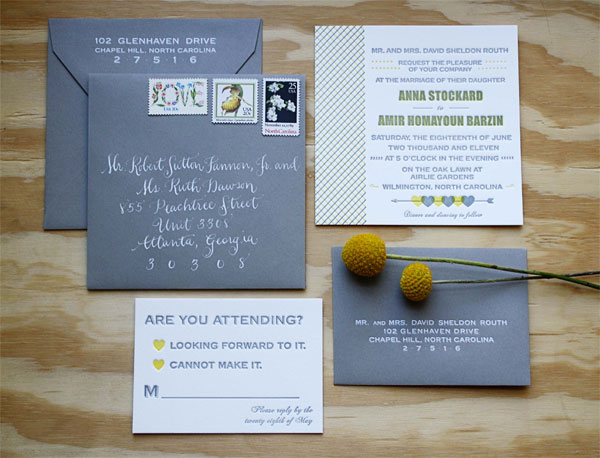 Yellow Gray Letterpress Wedding Invitations