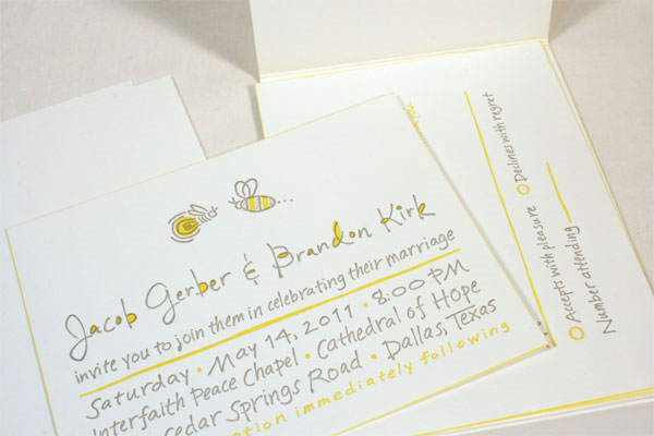 Hand-lettered Letterpress Wedding Invitations
