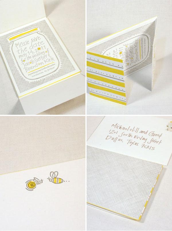 Yellow + Gray Letterpress Wedding Suite