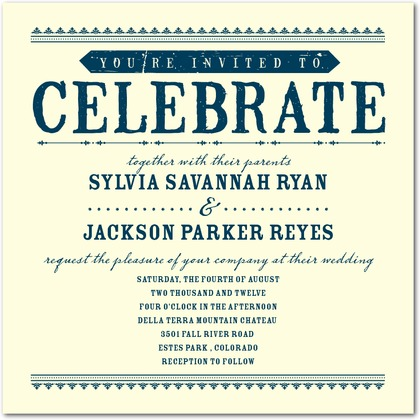 Come Celebrate Letterpress Invitations