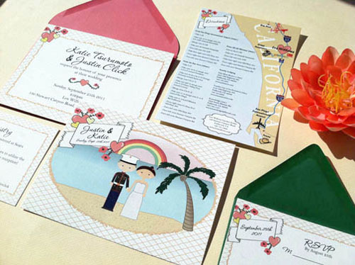 kawaii hawaii wedding invitations - invitation crush,