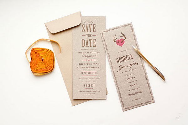 Pink + Brown Chipboard Save the Dates