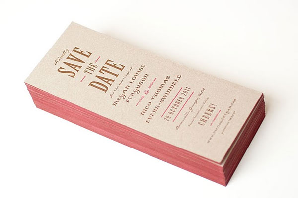 Pink and Brown Letterpress Save the Date