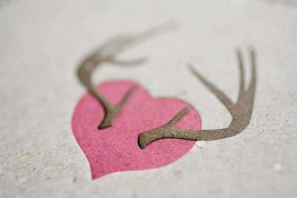 Chipboard Letterpress Heart Antlers