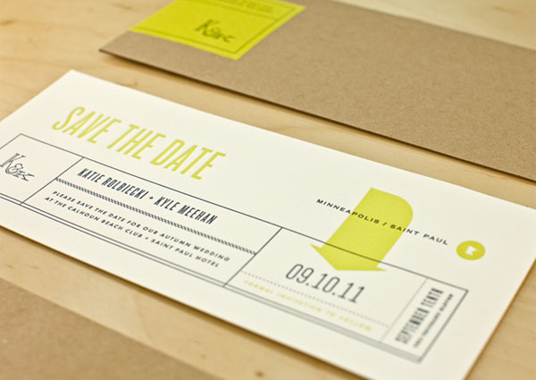 Modern Chartreuse Save the Date Cards