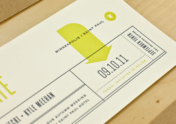 Chartreuse Mid Century Style Save the Date