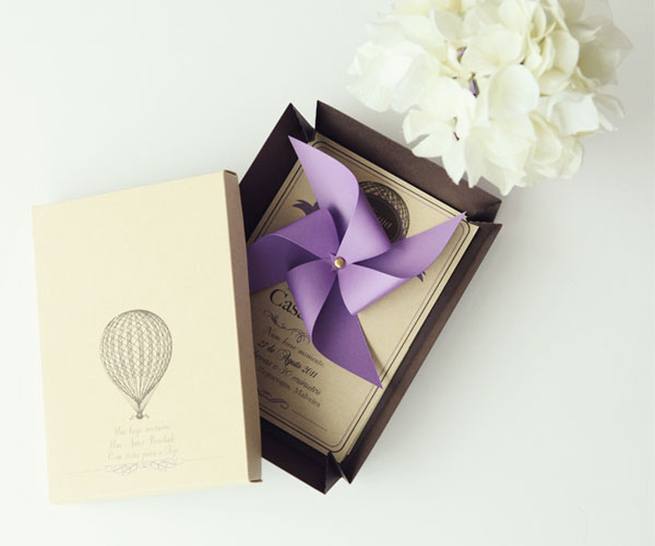 Hot Air Balloon + Pinwheel Wedding Invites