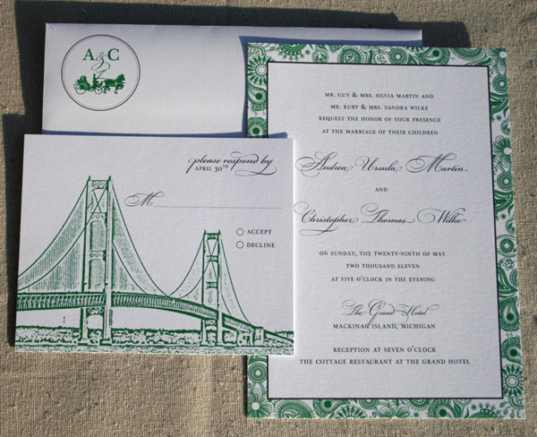 Affordable Green + Black Wedding Invitations