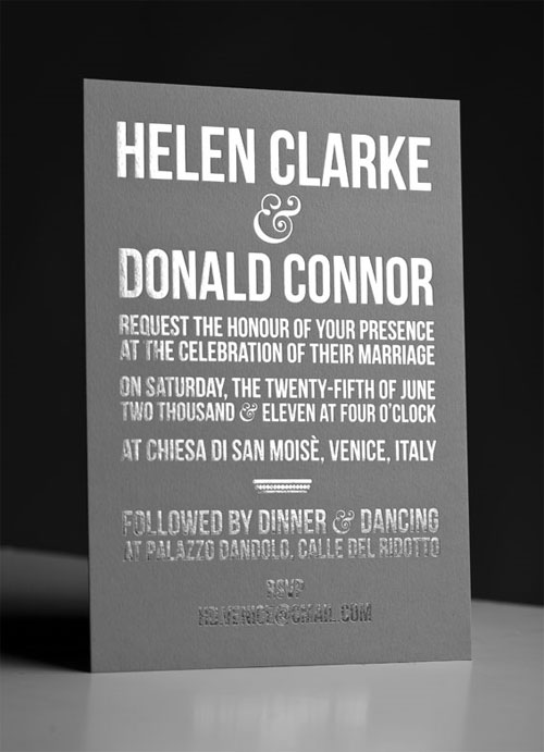 Gray + Silver Foil Stamped Wedding Invitations