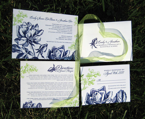 Navy Blue + Green Wedding Invitations