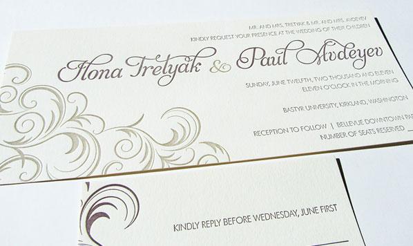 Rococo Letterpress Wedding Invitations
