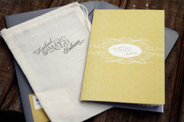 Gray and Golden Yellow Wedding Invitations