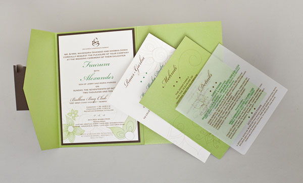 Modern Indian Wedding Invitations. InviteInk Custom Wedding Invitations.  Chartreuse + Chocolate Brown Invitations