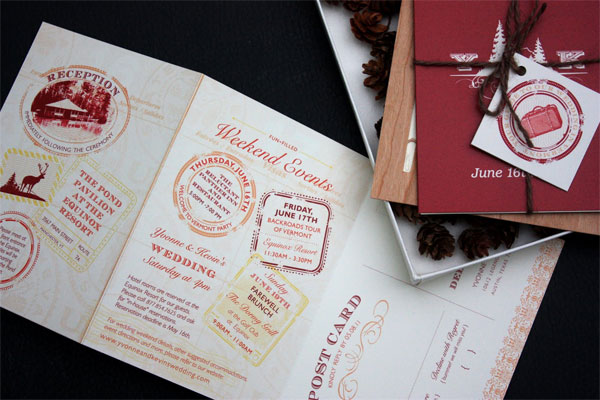 Woodland Passport Wedding Invitations Whoa there 39s a lot of awesome going