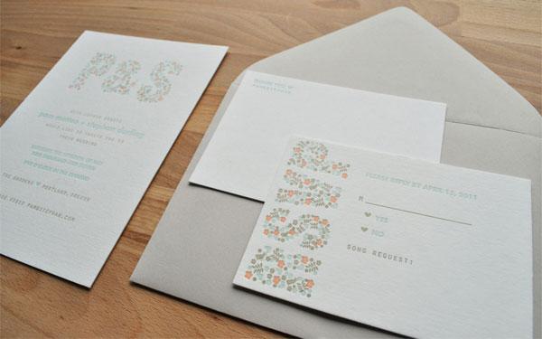Sweet Letterpress Wedding Invites