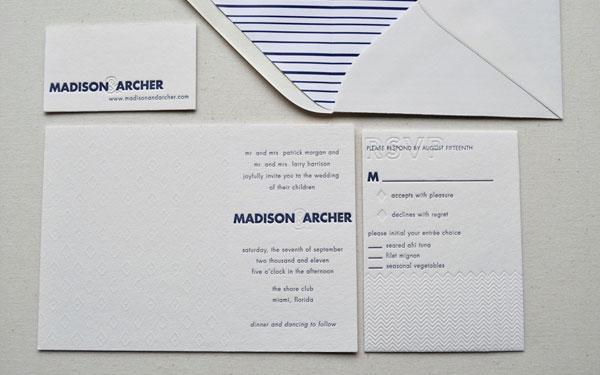 Blue White Letterpress Invitations