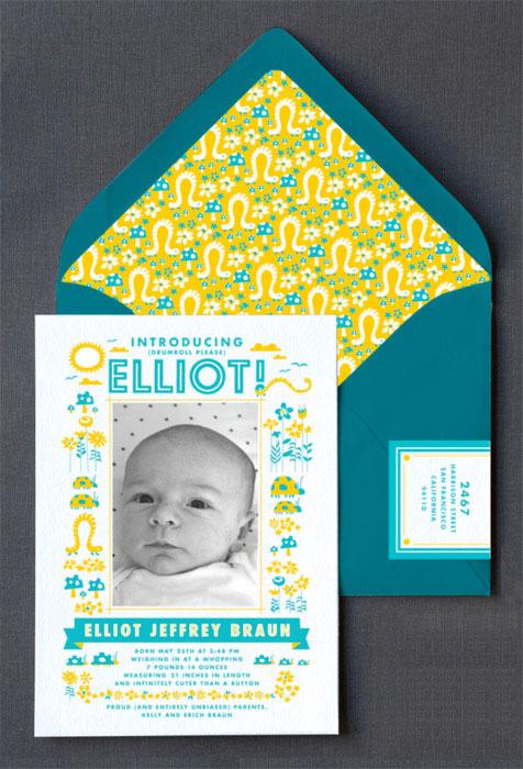 Cute Letterpress Birth Announcements