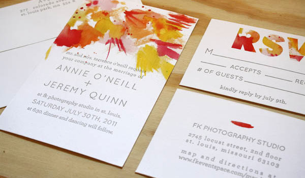 Printerette Press Watercolor + Letterpress Invitations