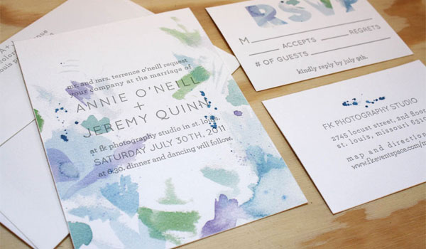 Watercolor wedding invitations by printerette press invitation crush watercolor wedding invites junglespirit Image collections