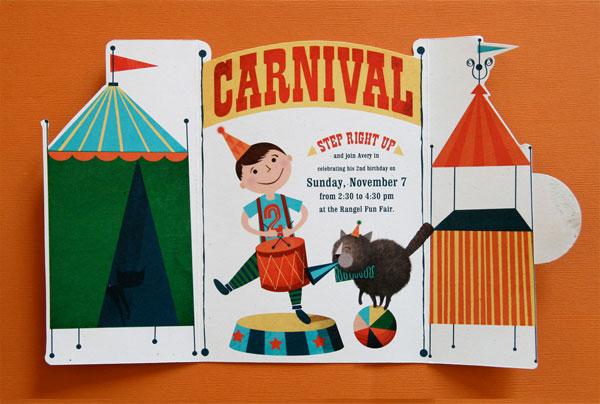 Vintage Carnival Birthday Party Invitations