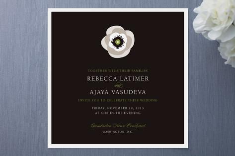 White French Anemone Wedding Invitations