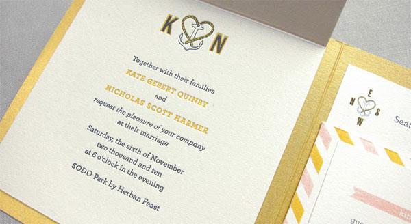 Anchor Letterpress Wedding Invitations
