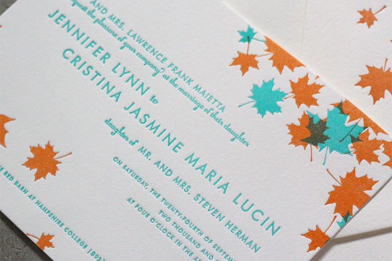 Autumn Wedding Invitations This gorgeous letterpress wedding suite by