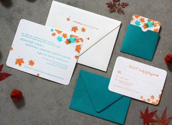 Peacock and Rust Wedding Invites